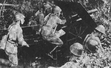 KNIL artillery position, Dutch East Indies 1941-1942
