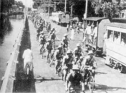 Japanese bicycle troops entering Batavia, March 1942