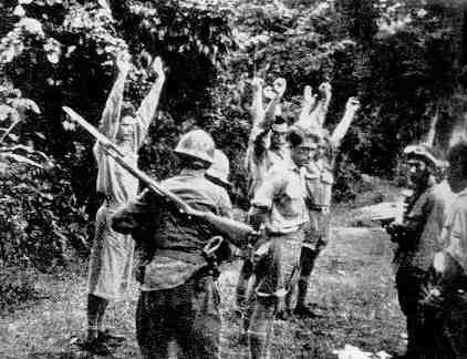 A group of Dutch KNIL soldiers is being captured, Java 1942