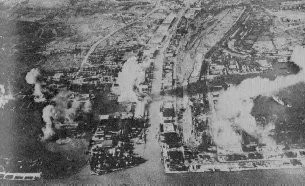 Bombardment of Soerabaja by the Japanese planes, Java 1942