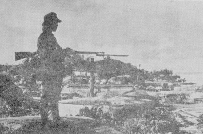 The Japanese soldier on guard on Tarakan Island, 1942
