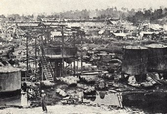 Oil fields on Tarakan Island, 1942